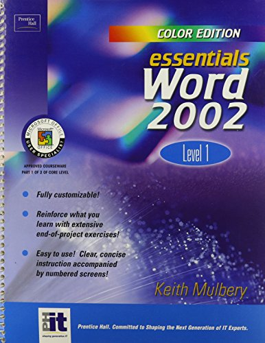 9780130094773: Essentials: Word 2002 Level 1 (Color Edition) (Essentials Series: Microsoft Office XP)