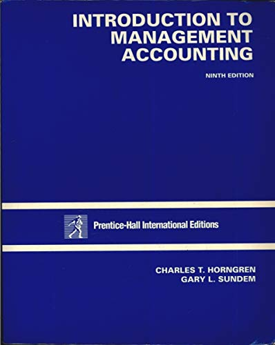 9780130106872: Introduction to Management Accounting