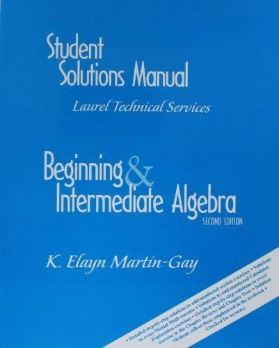 9780130173386: Beginning & Intermediate Algebra, Second Edition (Student Solutions Manual)