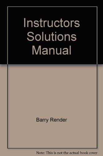 9780130195937: Operations Management: Instructors Solutions Manual