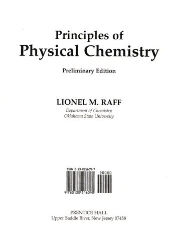 9780130216090: Principles of Physical Chemistry