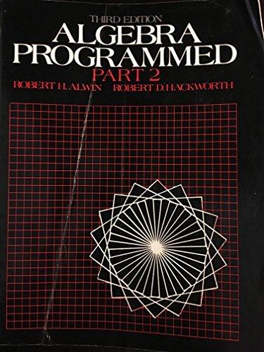 9780130219169: Algebra Programmed: Part 2 (Pt.2)
