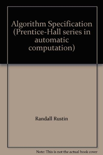 9780130223197: Algorithm Specification (Prentice-Hall series in automatic computation)