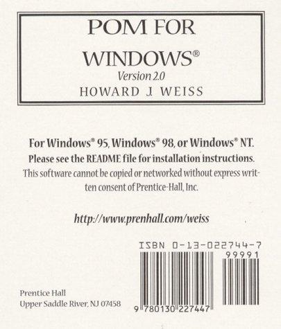 9780130227447: POM for Windows, Version 2