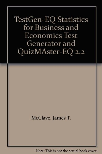 9780130273673: TestGen-EQ Statistics for Business and Economics Test Generator and QuizMAster-EQ 2.2