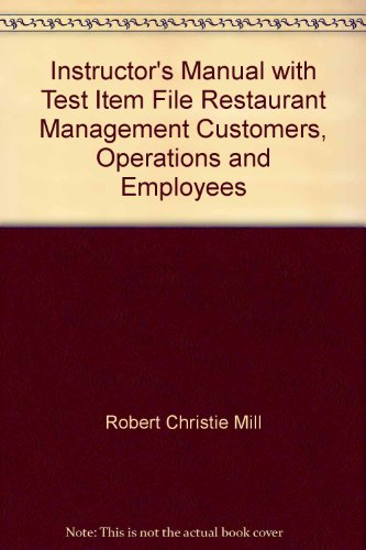 9780130281401: Instructor's Manual with Test Item File Restaurant Management Customers, Operations and Employees