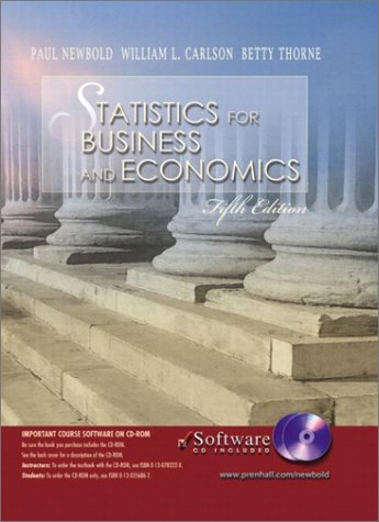 9780130293206: Statistics for Business and Economics and Student CD-ROM, Fifth Edition