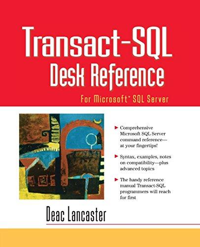 9780130293398: Transact-SQL Desk Reference: For Microsoft SQL Server