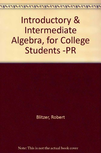 9780130343109: Introductory And Intermediate Algebra for College Students - CD Lecture Series