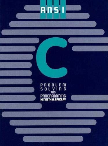9780130373267: ANSI C: Problem Solving and Programming