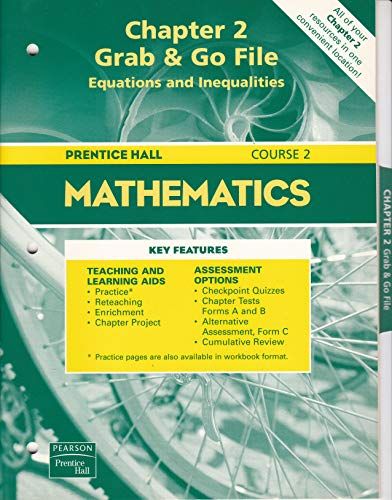 9780130377104: Prentice Hall Mathematics Course 2 (Chapter 2 Grab & Go File Equations and Ineqalities)