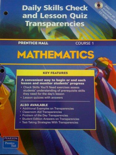 9780130378088: Prentice Hall Mathematics/course 1/daily Skills Check and Lesson Quiz Transparencies