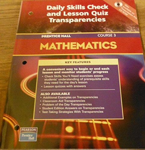 Daily Skills Check and Lesson Quiz Transparencies: n/a