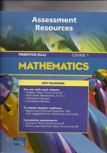 9780130378187: PRENTICE HALL MATH COURSE 1 ASSESSMENT RESOURCES BLACKLINE MASTERS 2004 C