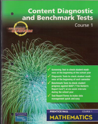 9780130378712: PRENTICE HALL MATH COURSE 1 DIAGNOSTIC AND BENCHMARK TESTS BLACKLINE MASTERS 2004