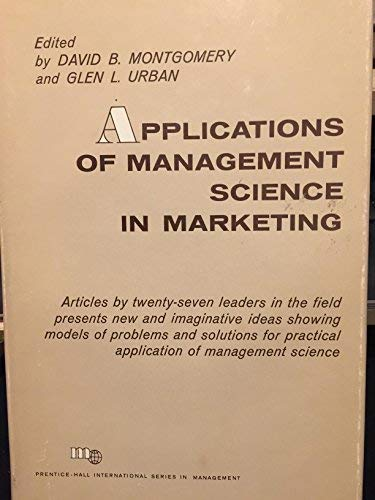 9780130388513: Applications of Management Science in Marketing (Prentice-Hall international series in management)