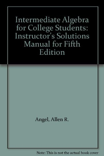 9780130402547: Intermediate Algebra for College Students: Instructor's Solutions Manual for Fifth Edition