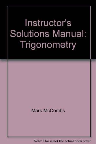9780130412263: Instructor's Solutions Manual: Trigonometry