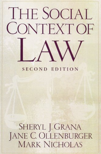 9780130413741: The Social Context of Law