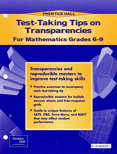 9780130436320: Test-Taking Tips on Transparencies for Mathematics Grades 6-9 [Paperback] (Grades 6-9)