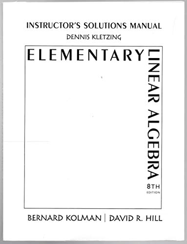 9780130457882: Instructor's Solutions Manual for Elementary Linear Algebra 8th Edition