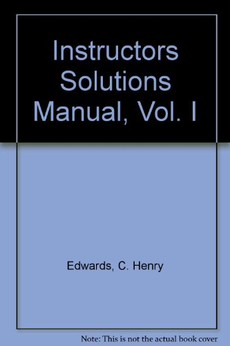 9780130460103: Instructors Solutions Manual, Vol. I