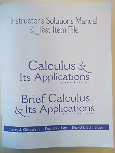 9780130466211: Instructor's Solutions Manual & Test Item File:Calculus & Its Applications / Brief Calculaus 10th Ed