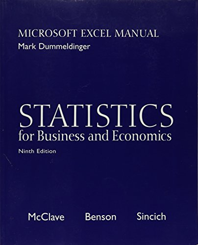 9780130466495: Statistics for Business and Economics: Microsoft Excel Manual (9th Ed, w/CD)
