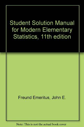Student Solution Manual: Freund, John E.