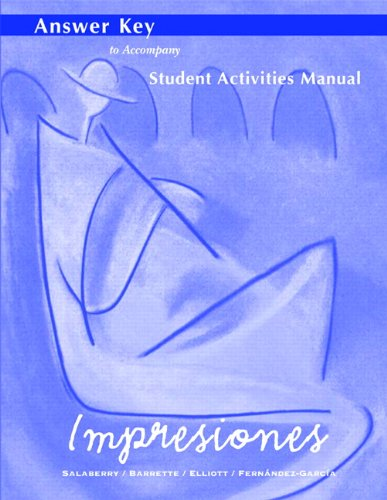 9780130483850: Impresiones: Answer Key to Student Activities Manual
