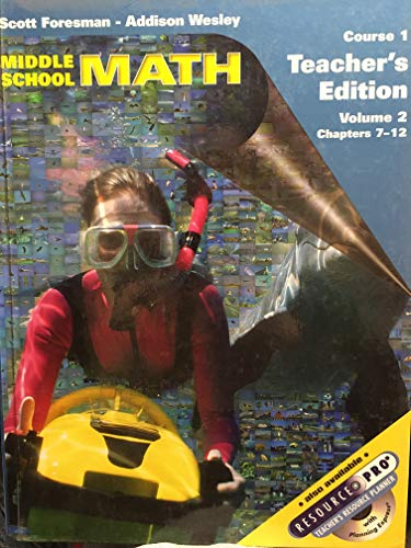 9780130542045: Middle School Math (Course 1, Volume 2, Chapters 7-12) Teacher's Edition