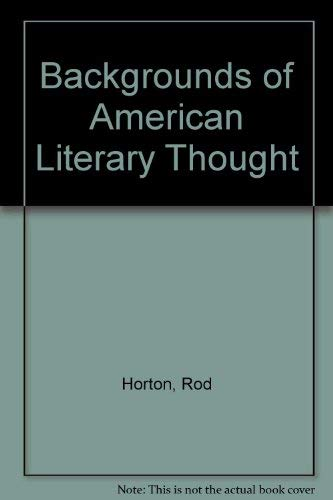 9780130563255: Backgrounds of American Literary Thought