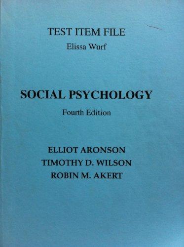 9780130605061: Social Psychology: Test Item File