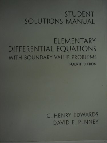 9780130613714: Elementary Differential Equations with Boundary Value Problems (Student Solutions Manual)