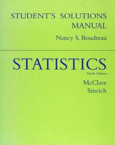 9780130660688: Statistics, Ninth Edition (Student Solutions Manual)