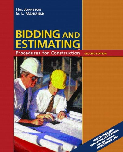 Bidding and Estimating Procedures for Construction (2nd: Hal Johnston; G.L.