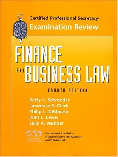 9780130843142: CPS Examination Review for Finance and Business Law (Certified Professional Secretary Examination Review Series)