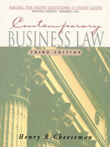 9780130851475: Contemporary Business Law: Asking the Right Questions