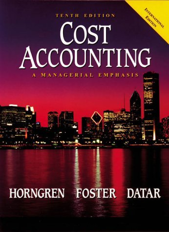 9780130851772: Cost Accounting: A Managerial Emphasis: International Edition