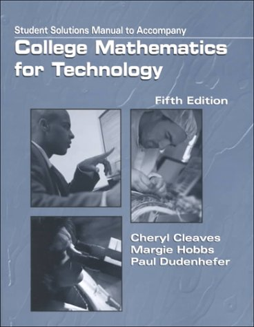 9780130861092: College Mathematics for Technology: Solutions Manual