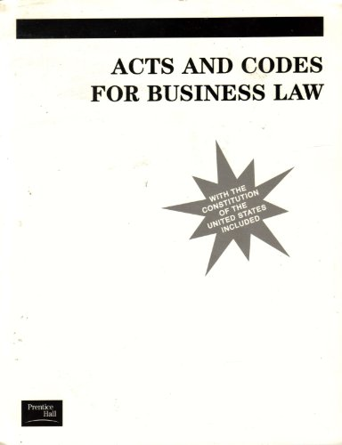 9780130887566: Acts and Codes for Business Law