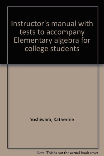 9780130890047: Instructor's manual with tests to accompany Elementary algebra for college students