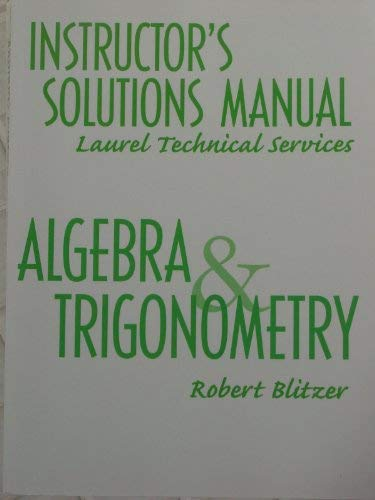 9780130897848: Instructor's Solutions Manual - Algebra and Trigonometry (Laurel Technical Services)