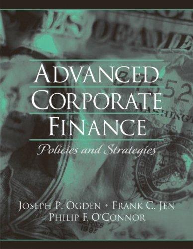 9780130915689: Advanced Corporate Finance