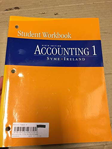 9780130923332: Accounting: Workbook and Study Guide v. 1