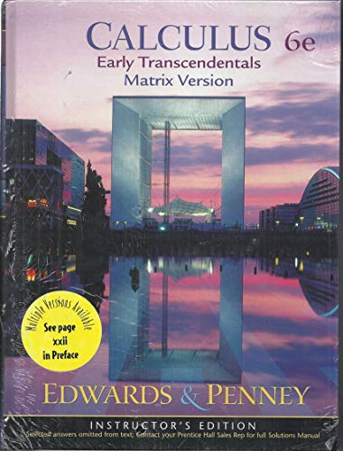 9780130937117: Calculus Early Transcendentals Matrix Version