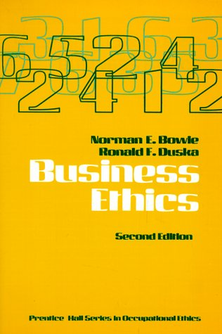 9780130959102: Business Ethics (Prentice Hall series in occupational ethics)