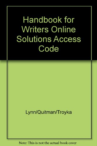 9780130969224: Handbook for Writers Online Solutions Access Code