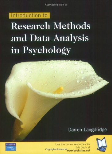 9780130978325: Introduction To Research Methods & Data Analysis In Psychology