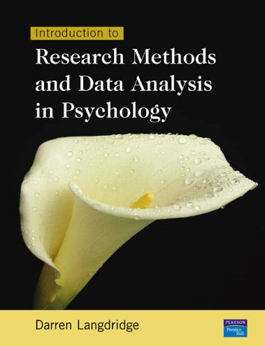 9780130978325: Introduction to Research Methods and Data Analysis in Psychology